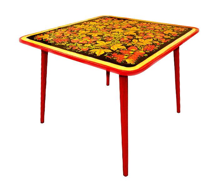 Стол детский квадратный «Осень» с хохломской росписью. 1-2-3 ростовая категория
