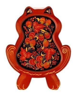 Сухарница «Лягушка» с хохломской росписью.