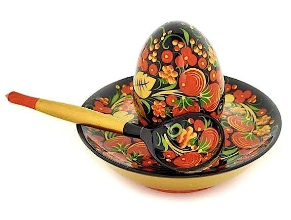 Комплект для яйца с хохломской росписью. 3 предмета