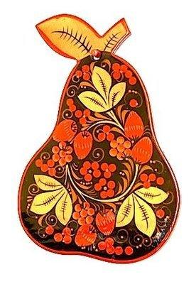 Доска разделочная «Груша» с хохломской росписью