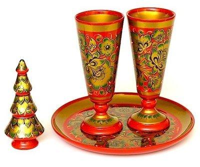 Набор для вина с хохломской росписью. 4 предметов