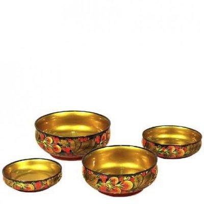 Набор салатниц с хохломской росписью. 4 предмета