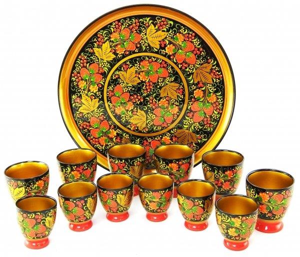 Набор стаканов для напитка с хохломской росписью 13 предметов