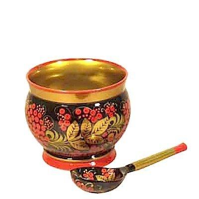 Соусница с ложкой с хохломской росписью. 2 предмета