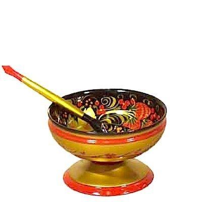 Набор из розетки с ложкой с хохломской росписью. 2 предмета