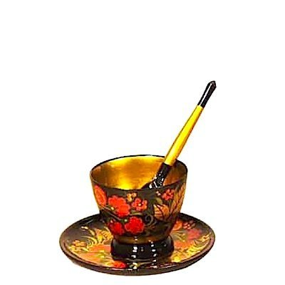 Комплект для кофе  с хохломской росписью. 3 предмета