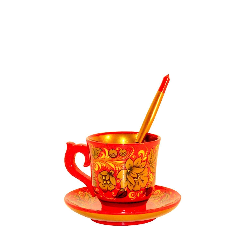 """Комплект для чая """"Липовый цвет""""  с хохломской росписью. 3 предмета"""