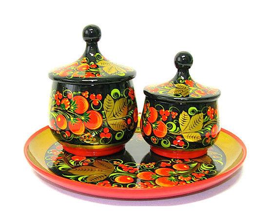 Набор для кухни с хохломской росписью. 3 предмета