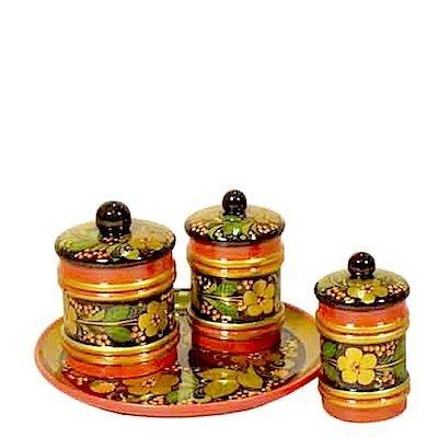 Набор для стола «Русь»  с хохломской росписью. 4 предмета