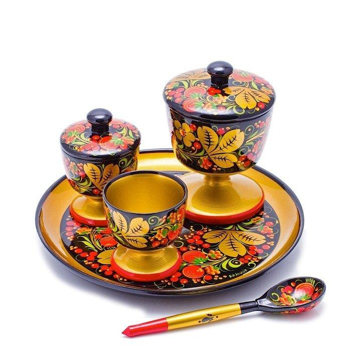 Набор для стола  с хохломской росписью. 5 предметов