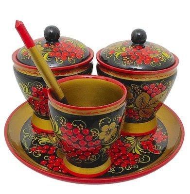 Набор для стола «Земляничка» с хохломской росписью. 5 предметов