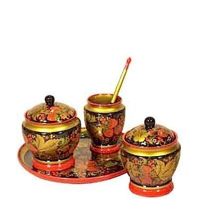 Набор для стола «Сад»  с хохломской росписью. 5 предметов
