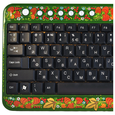Клавиатура Хохлома, Вернисаж K001-12, проводная клавиатура-мини, A4Tech