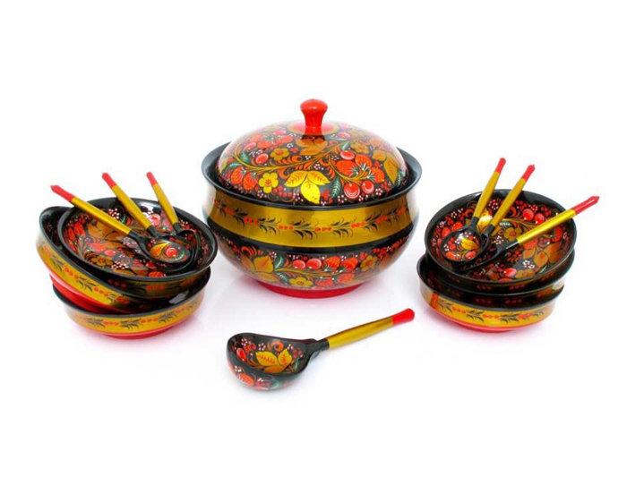 Набор для грибов с хохломской росписью 14 предметов