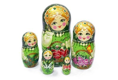 Матрёшка Семеновская «Корзина с цветами изумрудная» авторская 5 кукол