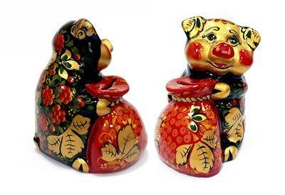 Ермиловская игрушка, копилка «Свинка копилка с мешком» с хохломской росписью