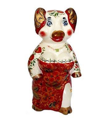 Ермиловская игрушка, копилка «Кармен» с хохломской росписью. 28 см