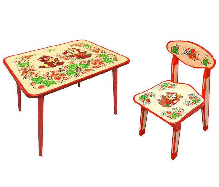Стол малый и стульчик детский (рисунок Зверята) с холодной росписью 0-1-2 рост.кат.