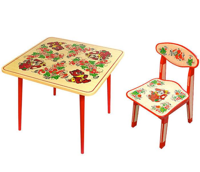 Стол детский квадратный «Осень» и стульчик детский (рисунок Зверята) с холодной росписью 0-1-2 рост.кат.