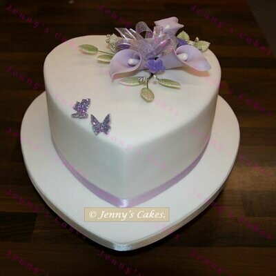 Gretna Heart Shaped Wedding Cake with Sugar Lilies
