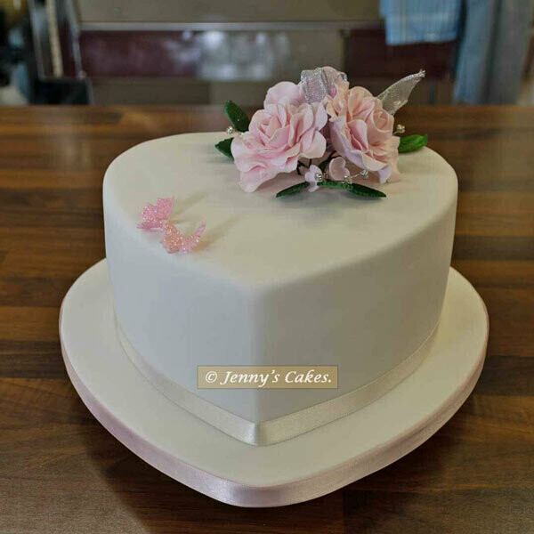 Gretna Small Heart Wedding Cake with Sugar Roses