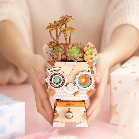 Деревянный 3D конструктор Robotime FT742 Цветочный горшок Щенок