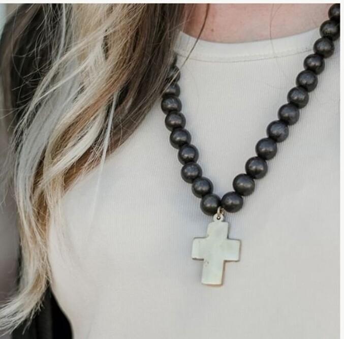 Black Cross Pendant Wood Necklace