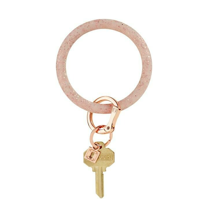 Rose Gold Confetti Silicone Key Ring