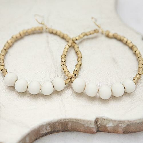 White Golden Row Earrings