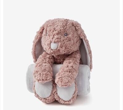 Mauve Swirl Bunny Bedtime Huggie with Blanket