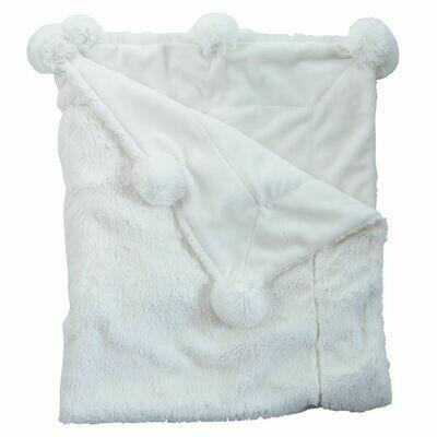 Pom Pom Plush Ivory Baby Blanket