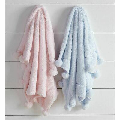 Pom Pom Blue Baby Blanket