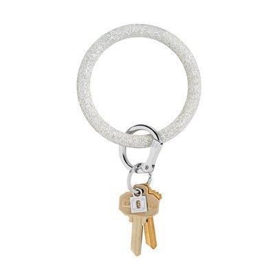 Silver Confetti Silicone Key Ring
