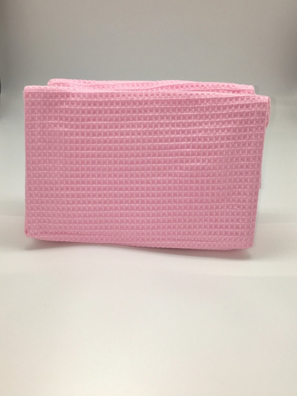 Light Pink Large Waffle Weave Cosmetic Bag