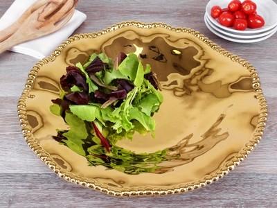 Porcelain Round Serving Piece-Gold