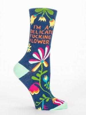 Blue Q W Crew Socks delicate flower