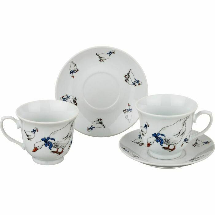 Чайный набор на 2 перс 4пр 220мл Гуси 792-040