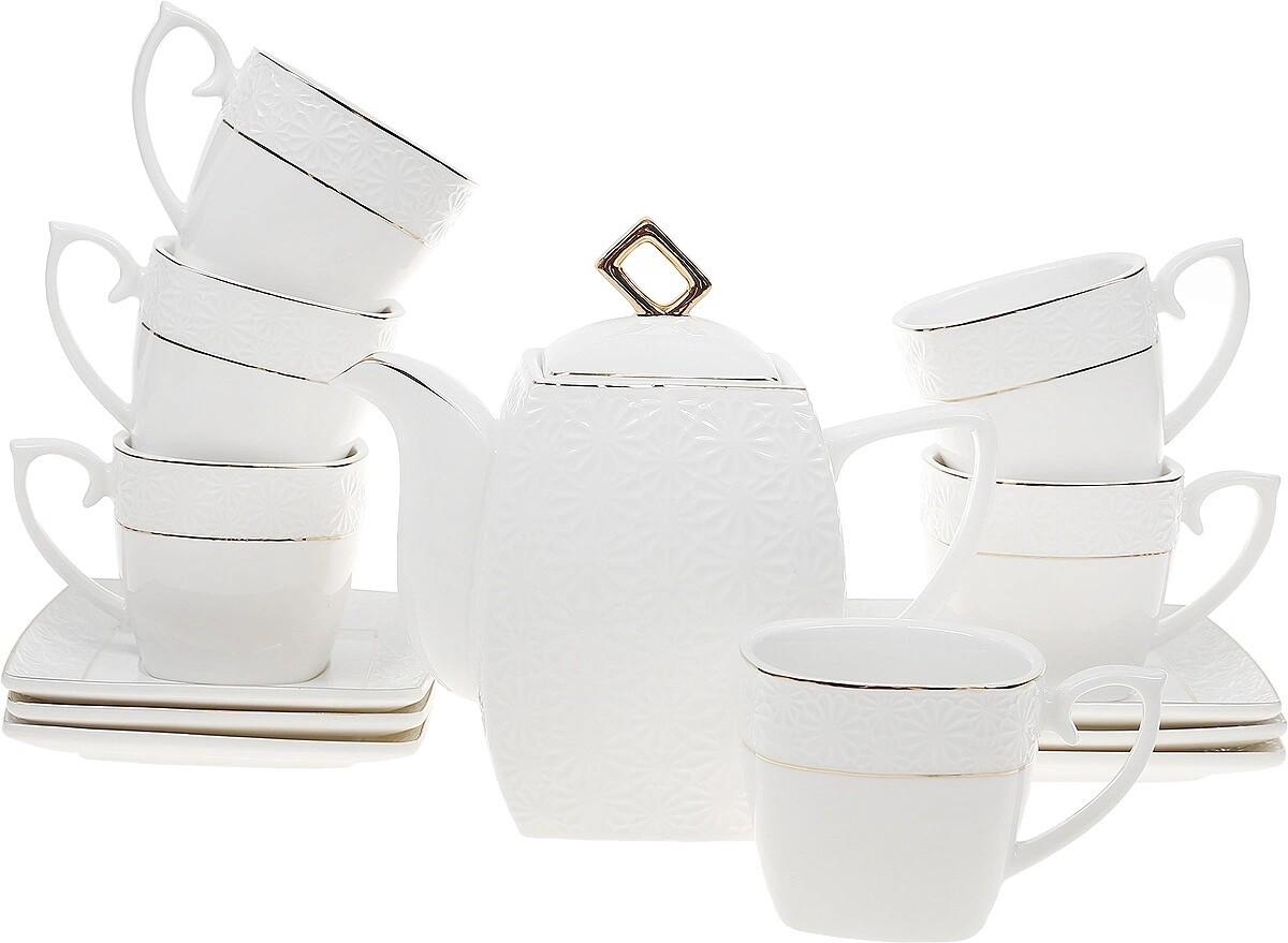 Сервиз чайный 13пр Бел с зол квадр ВК-6841