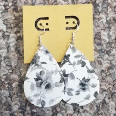 Teardrop Leather Earrings - Black Flowers