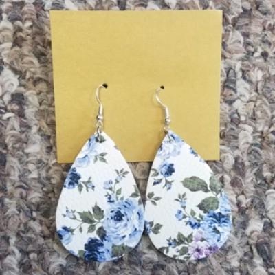 Teardrop Leather Earrings - Blue Flower