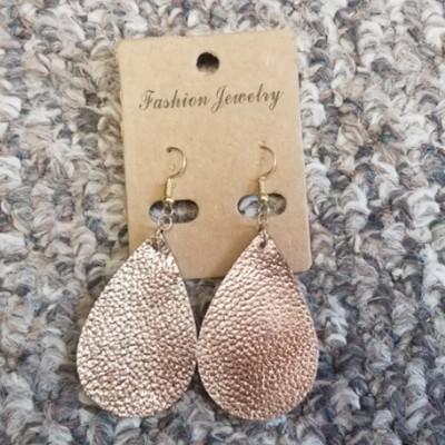 Teardrop Leather Earrings - Rose Gold