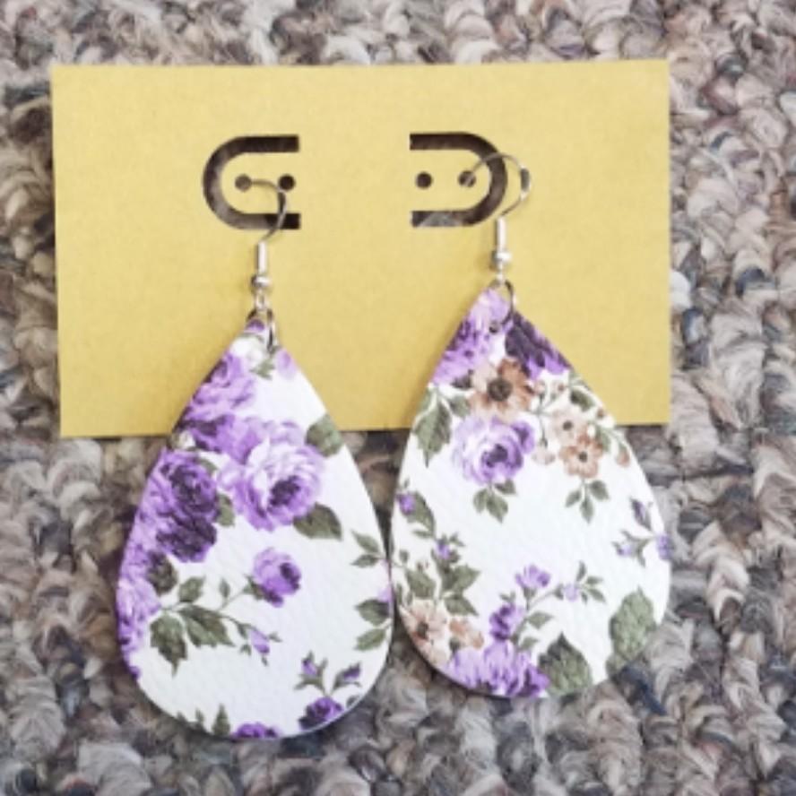 Teardrop Leather Earrings - Purple Flowers
