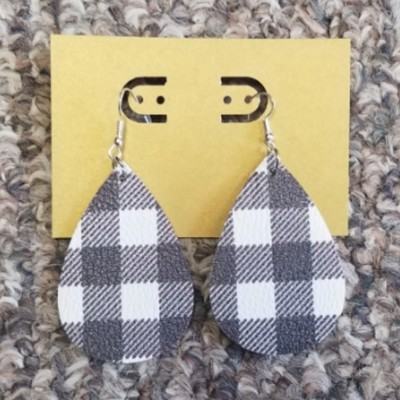 Teardrop Leather Earrings - White Plaid
