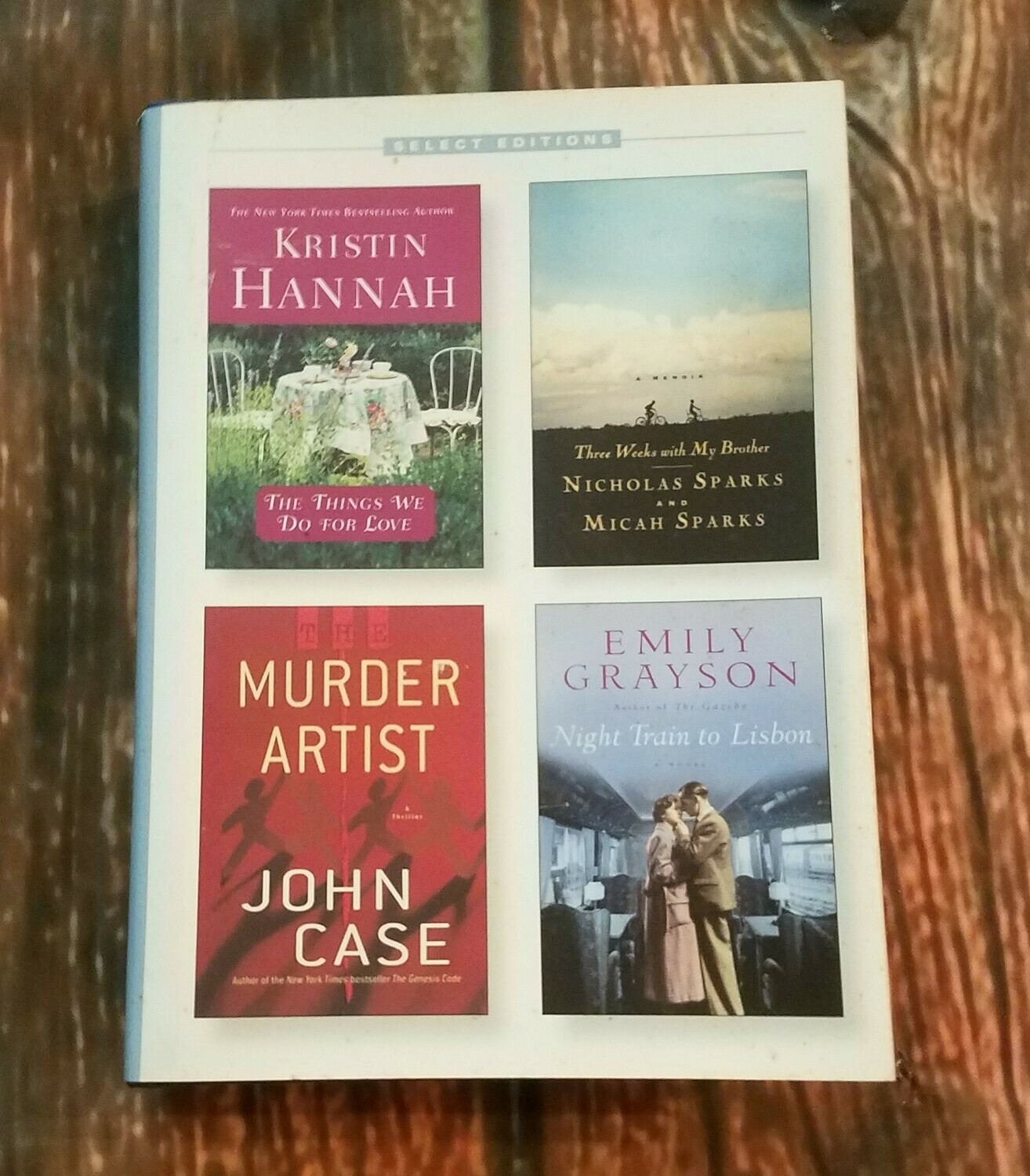 The Things We Do For Love, Three Weeks with My Brothers, Murder Artist, and Night Train to Lisbon by Reader's Digest