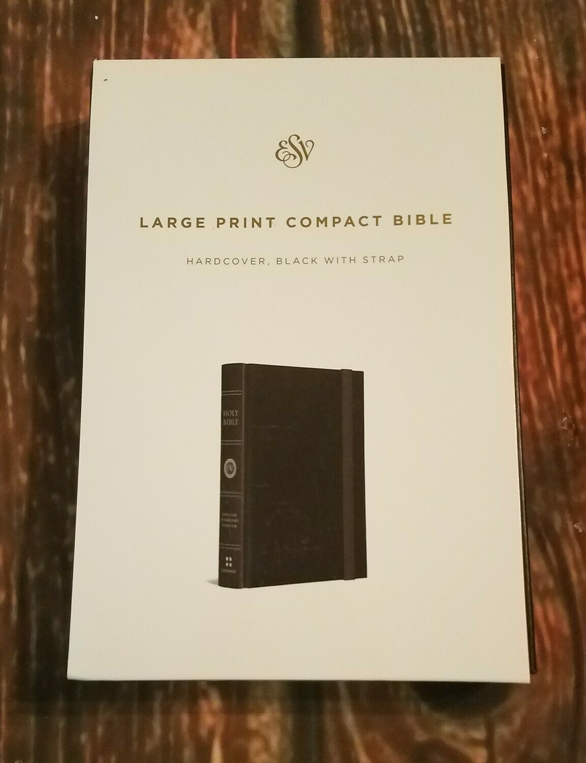 ESV Large Print Compact Bible - Black Leather with Strap