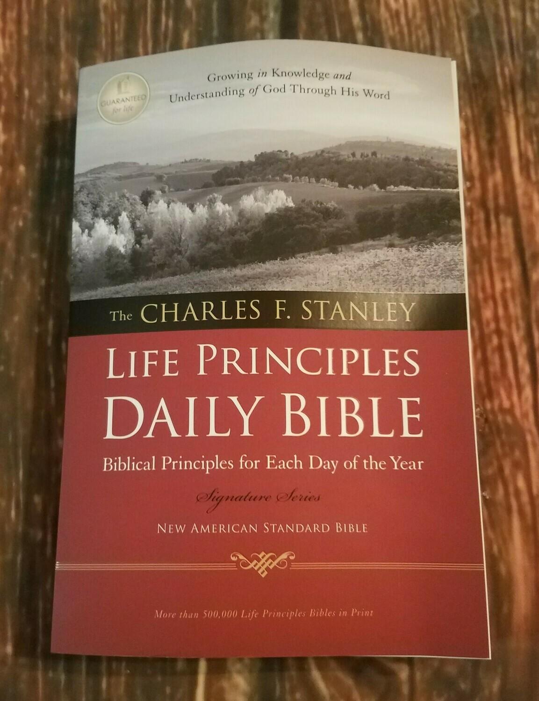 NASB Charles Stanley Paperback Life Principles Daily Bible