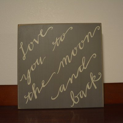 Love You to the Moon and Back Box Sign by Primitives by Kathy