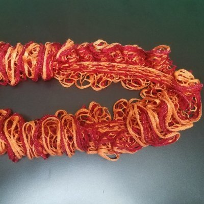 Red and Orange Ruffle Handmade Scarf