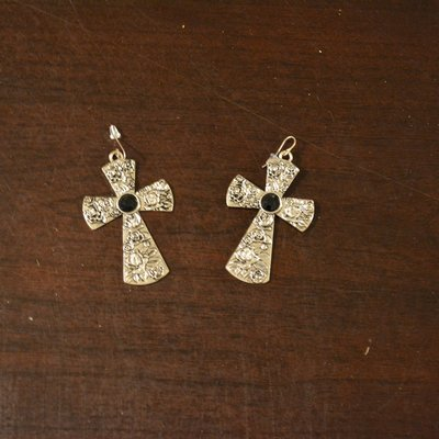 Silver and Black Cross Earrings with flowers
