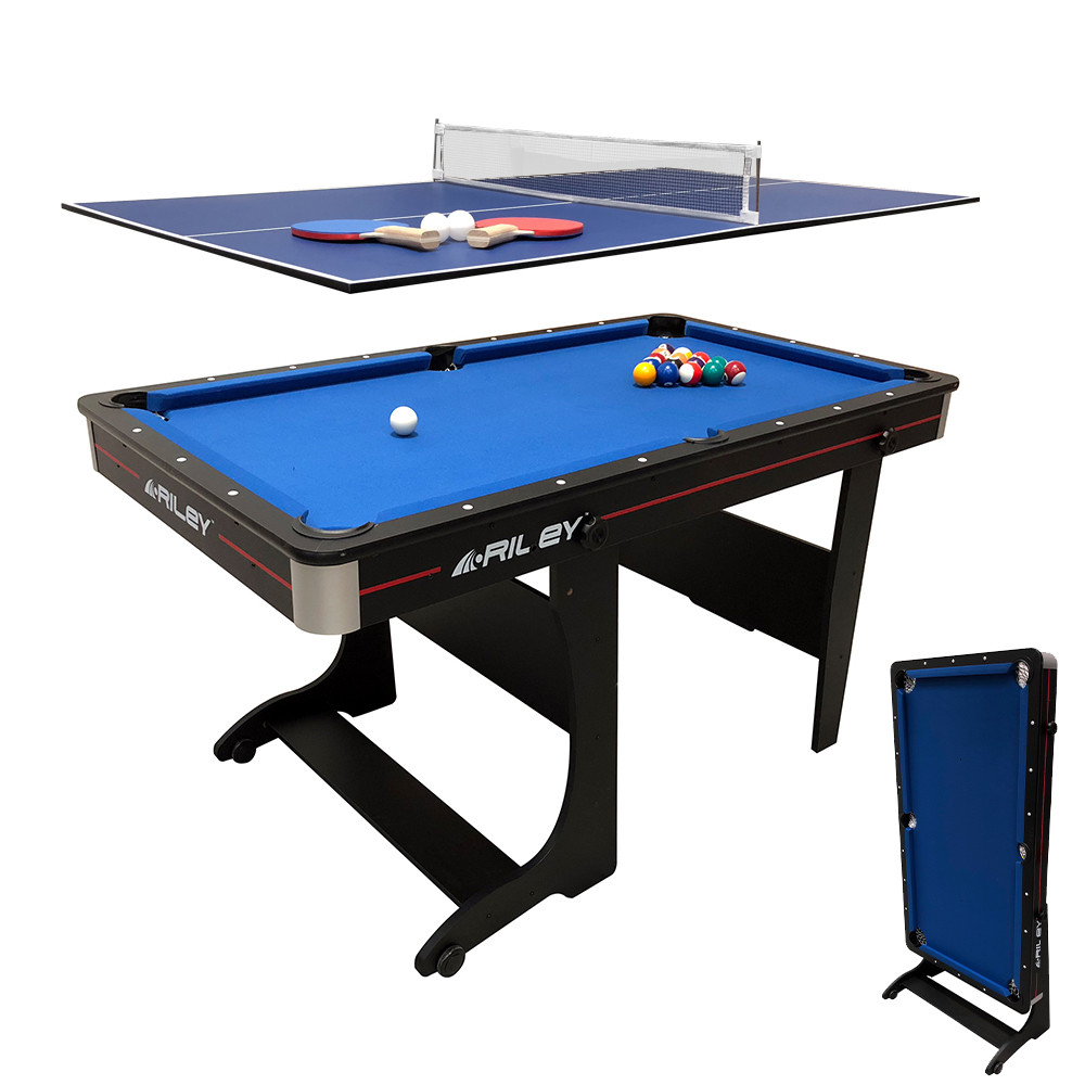 - Riley Folding Pool Table 2 In 1 - 5ft - Vertical Folding - With